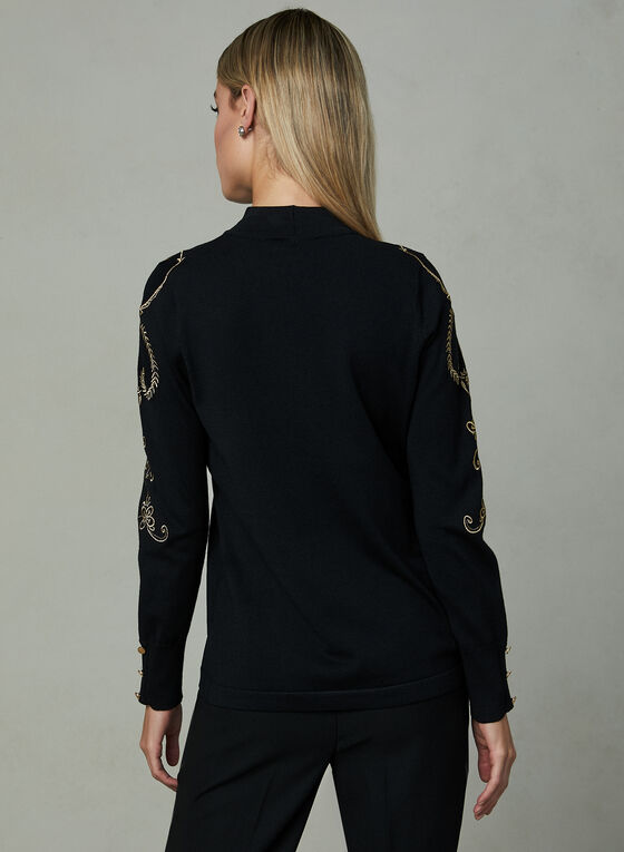 Elena Wang - Embroidered Sweater, Black, hi-res