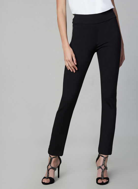 Beaded Trim Slim Leg Pants, Black