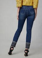 Embroidered Slim Leg Jeans, Blue