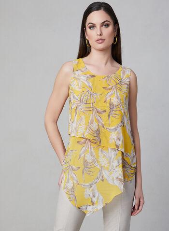 Floral Print Layered Top, Yellow, hi-res,  sleeveless, chiffon, asymmetric, spring 2019