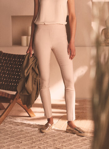 Pull-On Slim Leg Pants, Off White,  pants, pull-on, stretchy pants, comfortable, spring 2020, summer 2020