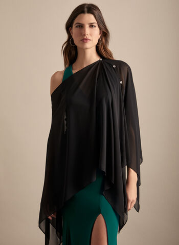 Frank Lyman - Adaptable Poncho, Black,  poncho, adaptable, boat neck, button details, slits, chiffon, spring summer 2020