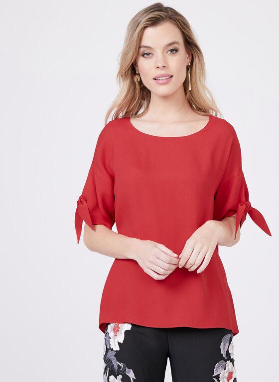 Tie Detail Short Sleeve Blouse	, Red, hi-res