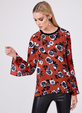 Floral Print Bubble Crepe Blouse, Red, hi-res