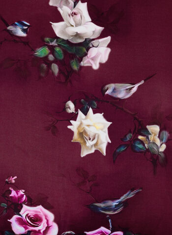Silk Bird & Rose Print Scarf, , hi-res