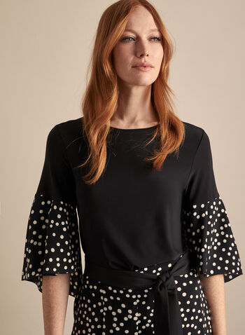 Joseph Ribkoff - Polka Dot Sleeve Top, Black,  top, blouse, jersey, 3/4 sleeves, polka dot, ruffled, high low, stretchy, spring summer 2020