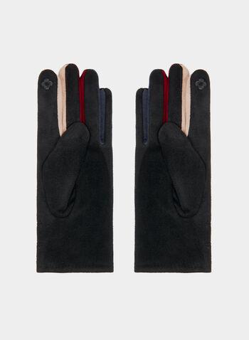 Gants en faux daim à touches de couleur, Noir, hi-res