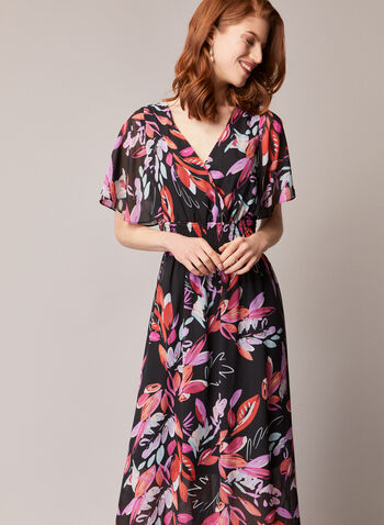 Watercolour Leaf Print Day Dress, Black,  dress, day, leaf print, watercolour, chiffon, fall winter 2020