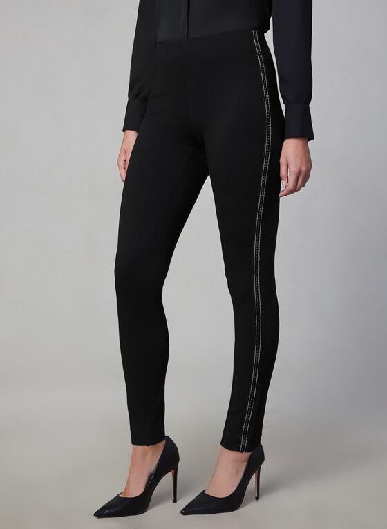 Pantalon à jambe étroite et bande perlée, Noir