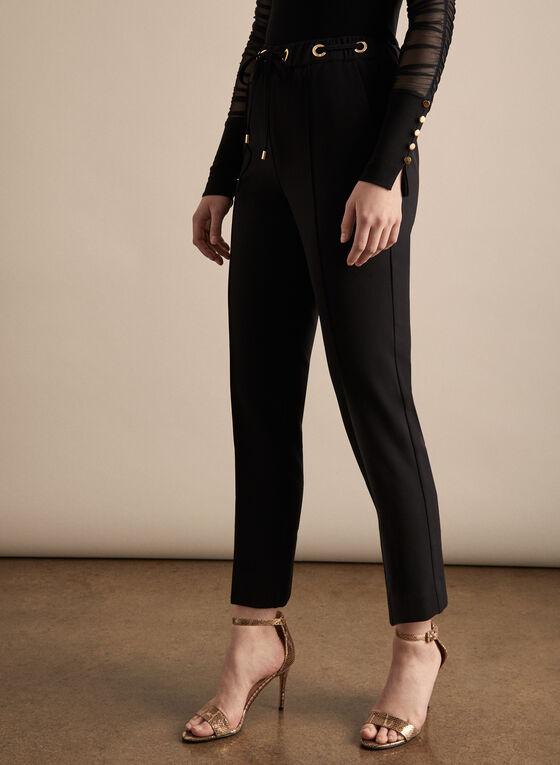 Pantalon droit Emma avec lien à nouer, Noir