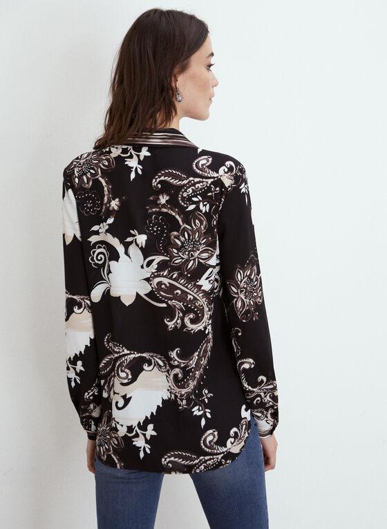 Joseph Ribkoff - Paisley Print Button Front Blouse, Black