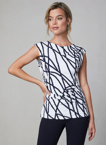 Abstract Print Top, Blue,  fall 2019, winter 2019, draping, ruching, jersey