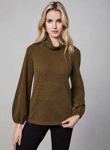 Haut en tricot à manches bouffantes, Brun, hi-res,  automne hiver 2019, haut, tricot, manches longues, manches bouffantes, col roulé. Canada