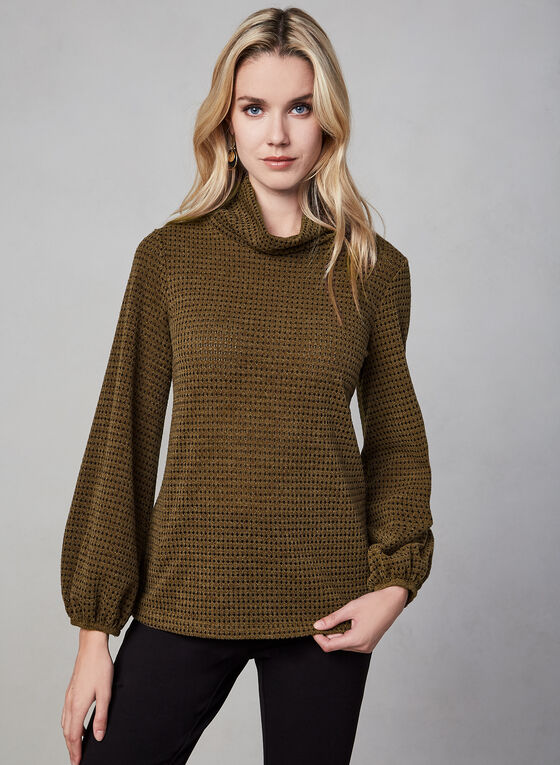 Cowl Neck Top, Brown