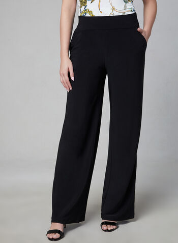 Wide Leg Pull-On Pants, Black,  jersey, pockets, fall 2019, winter 2019