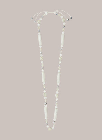 Assorted Bead Slider Necklace, Off White,  fall winter 2020, necklace, jewelry, jewellery, accessories, beaded