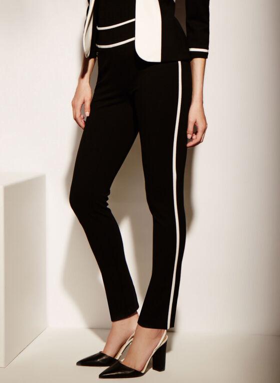 Pantalons à jambe étroite avec liseré blanc, Noir, hi-res