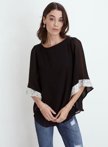Joseph Ribkoff - Sequin Detail Kimono Blouse, Black,  fall winter 2021, made in canada, sequins, chiffon, kimono, blouse, top, boat neck,