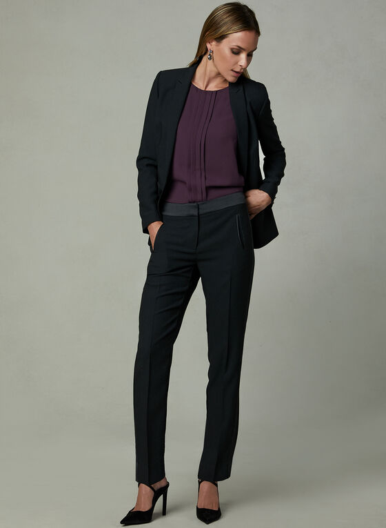 Satin Trim Crepe Pants, Black, hi-res