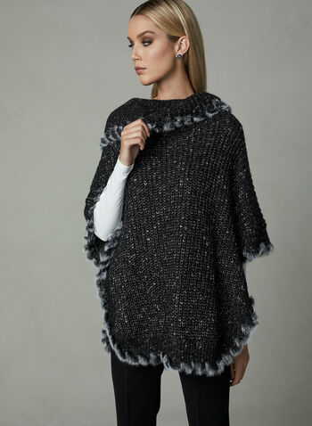 Cowl Neck Knit Poncho, Black, hi-res