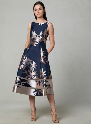 Adrianna Papell - Floral Print Fit & Flare Dress, Blue,