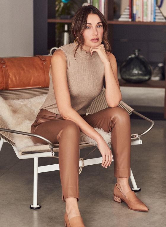 Leather-Like Slim Leg Pants, Brown