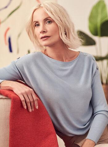 Dolman Sleeve Button Detail Sweater, Blue,  sweater, ribbed knit, dolman sleeve, button details, boat neck, spring summer 2021