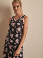 Comfort & Co. - Sleeveless Floral Print Nightgown, Grey