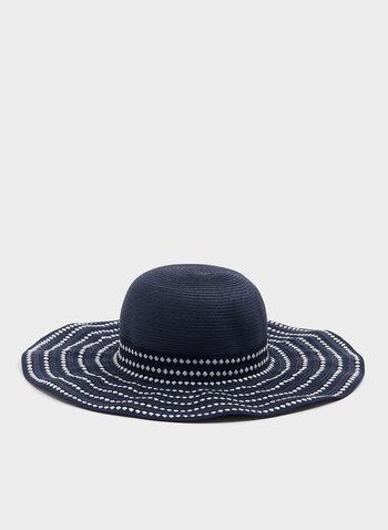 Chapeau capeline bi-ton, Bleu, hi-res