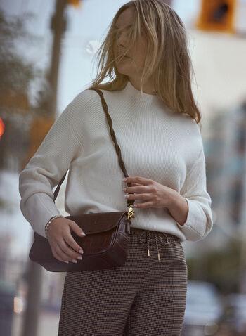 Pull à col cheminée en tricot côtelé, Blanc cassé,  haut, pull, col cheminée, manches longues ballon, tricot côtelé, automne hiver 2021