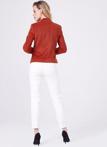 Inverted Notch Collar Blazer, Orange, hi-res