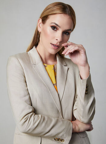 Single Button Linen Blazer, Off White, hi-res
