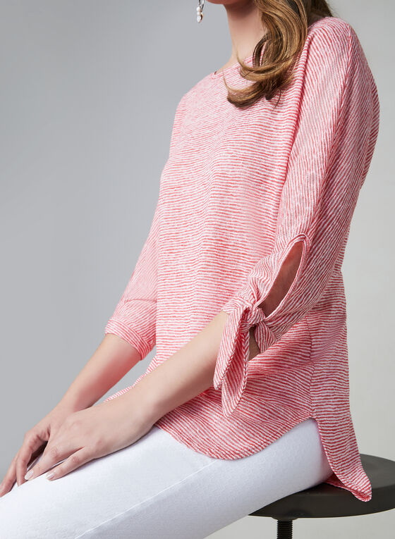 Pure Essence - Stripe Print ¾ Sleeve Top, Red, hi-res