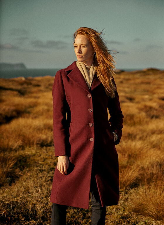 Wool Blend Button Down Coat, Purple