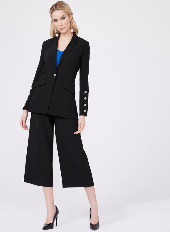 Button Detail Soho Culottes, Black, hi-res