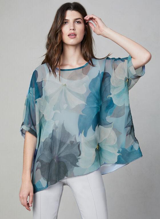 Compli K - Floral Print Sheer Kimono Top, Blue, hi-res