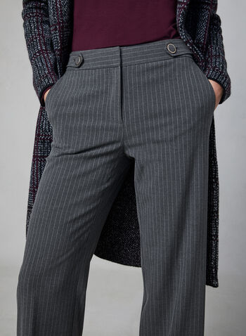 Pantalon coupe Soho rayé , Gris,  pantalon, jambe large, soho, rayures, pinces, automne hiver 2019