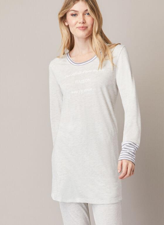 Ensemble pyjama à détails rayés, Gris