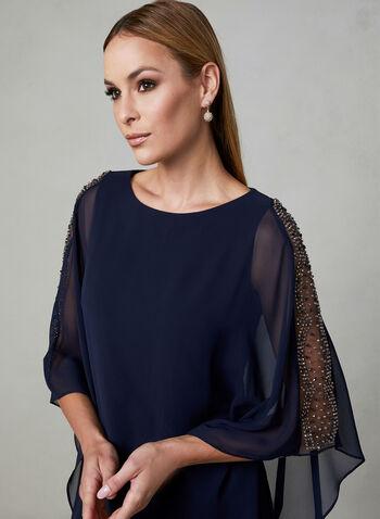 BA Nites - Robe en mousseline ornementée, Bleu, hi-res