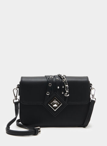 Céline Dion – Metal Detail Crossbody Bag, Black, hi-res