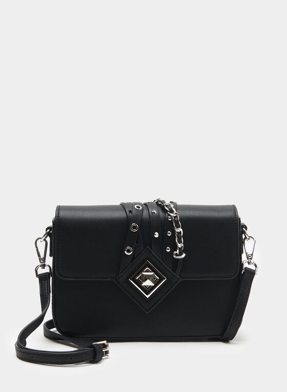 Céline Dion – Metal Detail Crossbody Bag, Black, hi-res