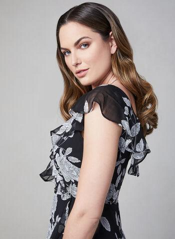 Maggy London - Floral Print Ruffle Dress, Black,  chiffon, flutter sleeves, short sleeves, spring 2019