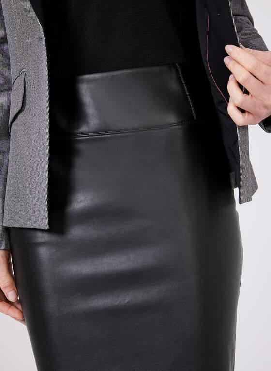 Faux Leather Wiggle Skirt, Black, hi-res