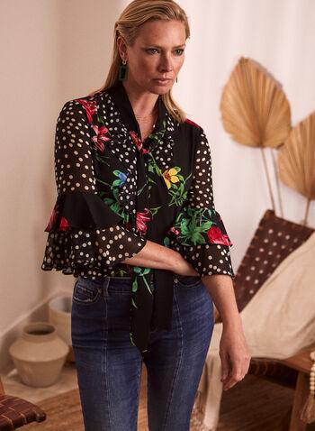 Polka Dot & Floral Print Blouse, Black,  spring summer 2021, made in canada, top, blouse, scarf, collar, shawl, ruffles, flare, 3/4 sleeves, pattern, floral, polka dot, print, rounded hem, ruffle sleeve, ruffled, ruffle