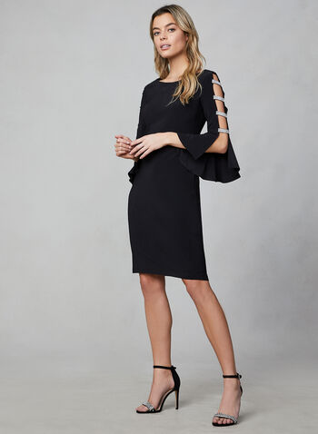 Frank Lyman - Bell Sleeve Cocktail Dress, Black,  cocktail dress, bell sleeves, jersey, loose collar, rhinestones, frank lyman, fall 2019, winter 2019