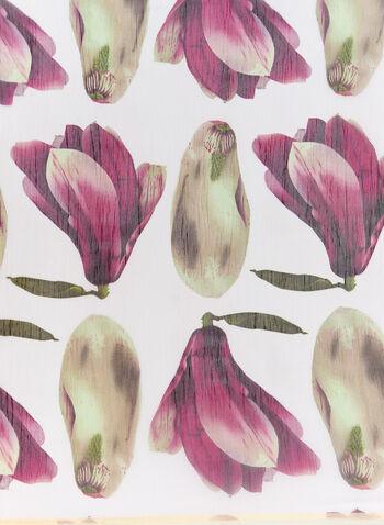 Budding Floral Print Scarf, White, hi-res