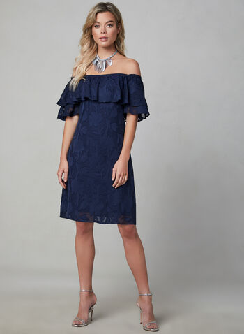 Maggy London - Embroidered Off-the-Shoulder Dress, Blue,  day dress, short sleeves, ruffles, fall 2019