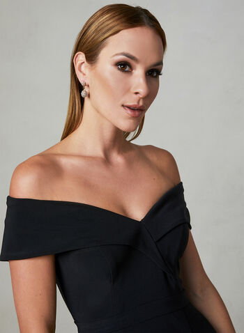 BA Nites - Off The Shoulder Dress, Black,  sweetheart, slit, spring 2019