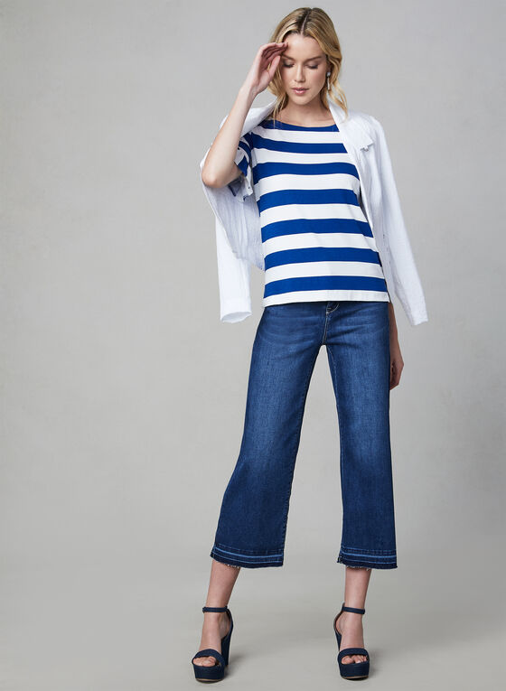 Stripe Print Ruffle Sleeve Top, Blue, hi-res