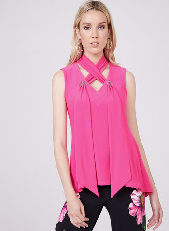Joseph Ribkoff - Mock Neck Sleeveless Top, Pink, hi-res